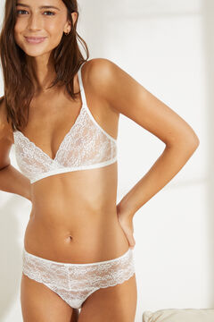 Womensecret White lace wide side Brazilian panty white
