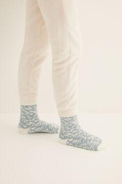 Womensecret Fluffy animal print non-slip ankle socks blue