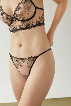 Womensecret Classic black floral embroidered panty black