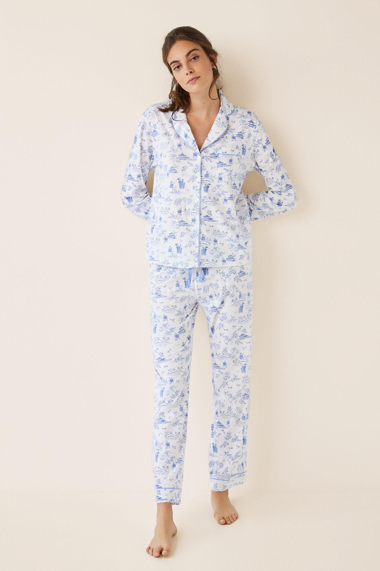 Beige Camisero Pijama Womensecret Largo Oriental UfTq5Iw