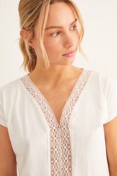 Womensecret Lace detail t-shirt beige