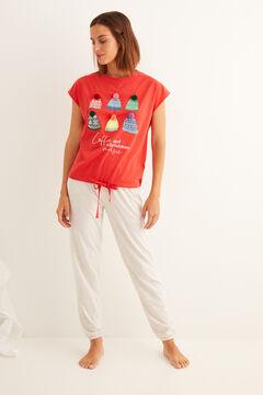 Womensecret Pyjama long à manches courtes coton froncé rouge