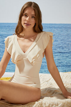 Womensecret White V-neck shaping swimsuit with ruffles beige