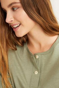 Womensecret Henleyshirt mit langen Ärmeln Grün Baumwolle Naturweiß