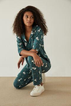 Womensecret Pijama camiseiro verde Snoopy 100% algodão verde