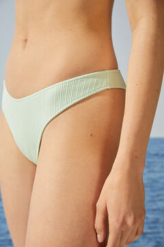 Womensecret Culotte bikini tanga côtelée vert menthe vert