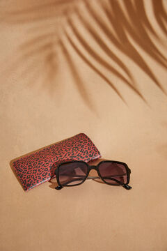 Womensecret Square sunglasses with brown animal print case printed