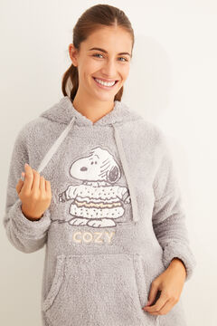 Womensecret Fleece Snoopy nightgown with hood grey