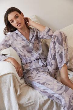 Womensecret Pijama camiseiro comprido chiffon flores azul