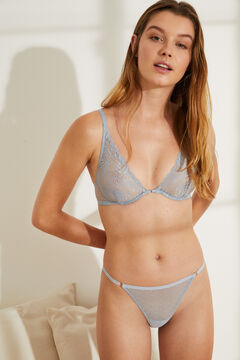 Womensecret Classic blue lace and plumetis panty blue