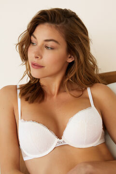 Womensecret Lace and plumetti super push-up bra white