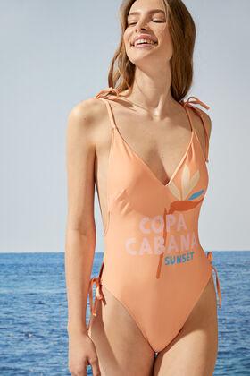 Womensecret Orange V-neck Copa Cabana swimsuit red