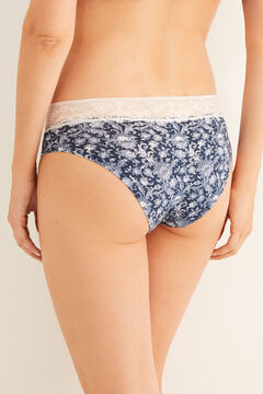 Womensecret Lace detail printed cotton boyshort panty blue