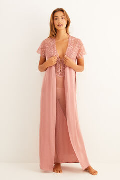 Womensecret Long pink plumetis and lace robe pink