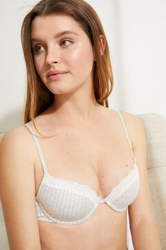 Womensecret BEAUTIFUL Classic padded bra, underwired, in grey cotton and lace grey