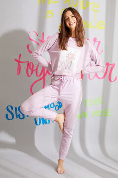 Womensecret Pijama largo algodón orgánico estampado lila rosa