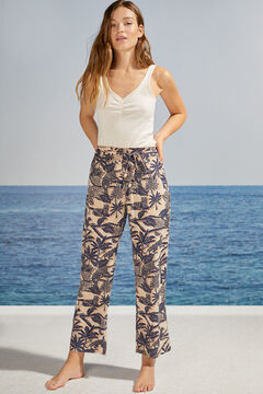 Womensecret Pantalon long jambe large palmiers blanc