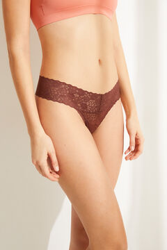 Womensecret Brown lace tanga nude