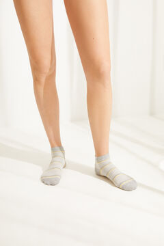Womensecret Striped grey cotton short socks grey