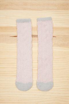 Womensecret Fluffy textured pink socks pink