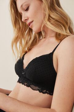 Womensecret LOVELY Sujetador triangular mesh y encaje negro