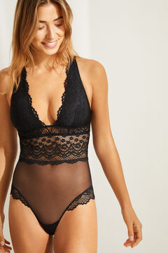 Womensecret Black strappy lace halterneck bodysuit black