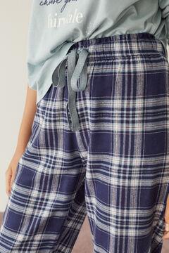 Womensecret Pantalon à carreaux bleu long impressão