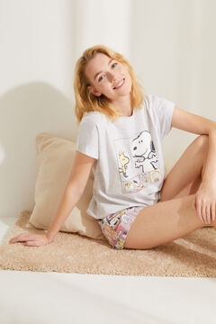 Womensecret Pyjama court coton Snoopy gris rose
