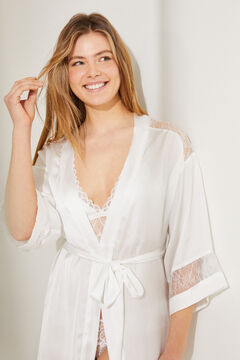 Womensecret Satin belted kimono sleeve midi robe white