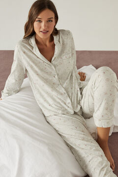 Womensecret Classic pyjamas in 100% organic cotton with moon design. grey