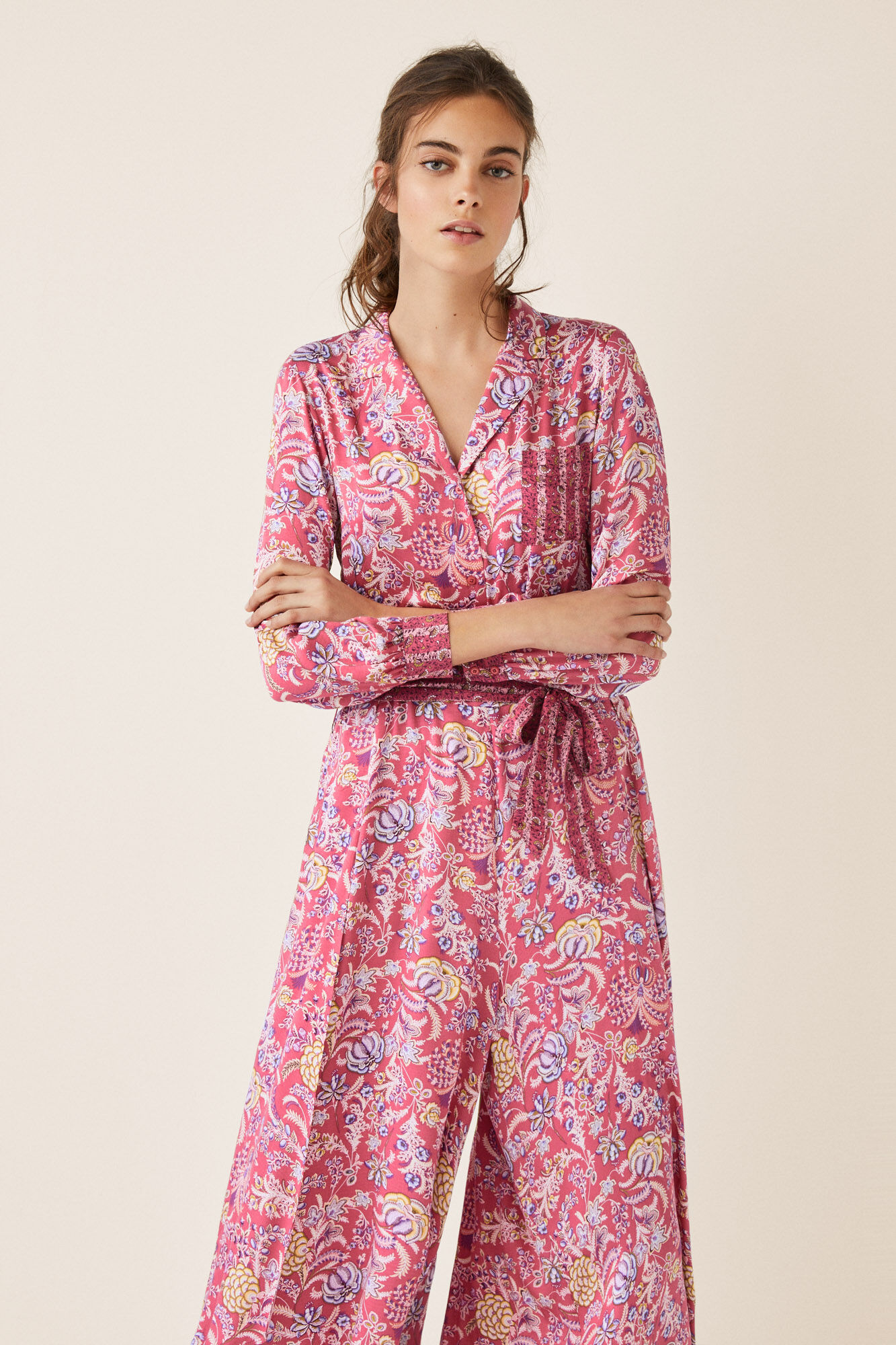 2ca72b007 Printed jumpsuit shirt top and culotte bottoms
