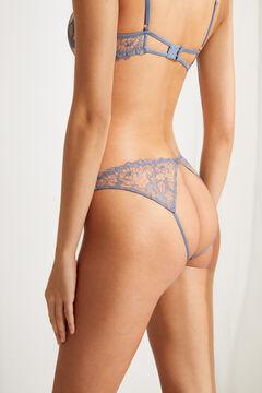 Womensecret Braga clásica encaje bordado y trasero tira azul azul