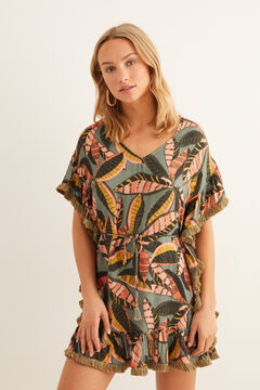 Womensecret Short leaves tunic green