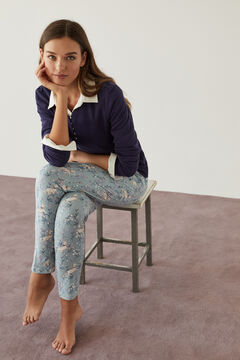Womensecret Langes Henleyshirt Blau Baumwolle blue