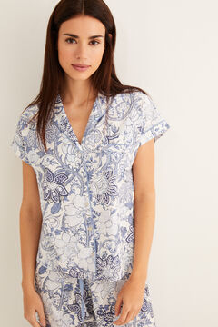 Womensecret Capri floral classic pyjamas blue