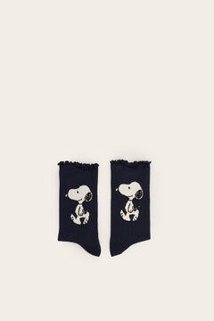 Womensecret Long black Snoopy socks blue