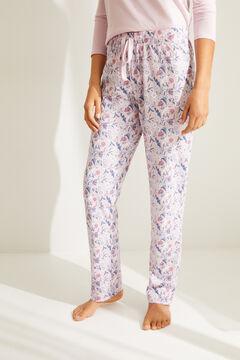 Womensecret Pantalón largo algodón flores rosa rosa