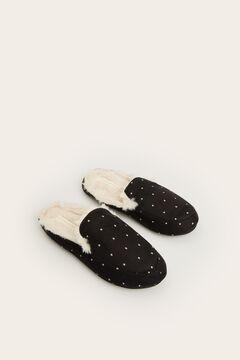 Womensecret Pantufas mocassim pretas branco