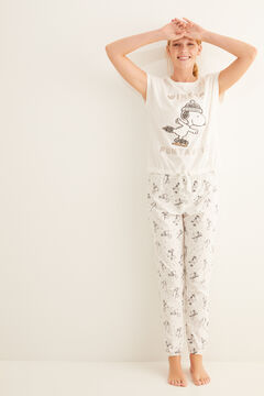 Womensecret Long Snoopy pyjamas with short-sleeved top  beige