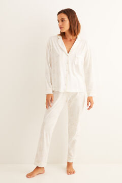 Womensecret Classic long-sleeved Capri floral pyjamas white