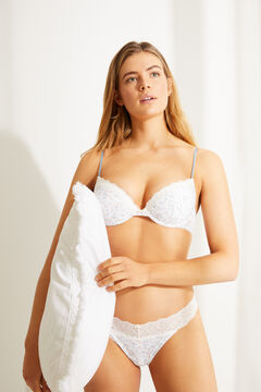 Womensecret Floral organic cotton tanga with lace trim white