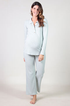 Womensecret Polo and comfortable wide maternity trouser set beige
