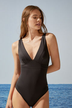 Womensecret Black V-neck shaping swimsuit black