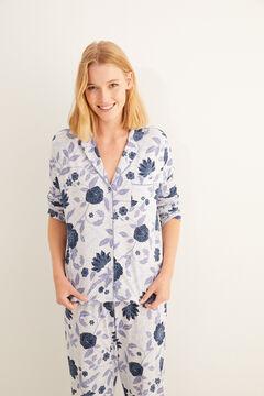 Womensecret Pyjama chemise long imprimé floral bleu gris