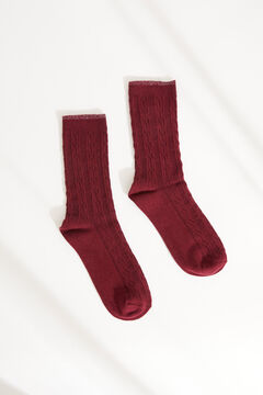 Womensecret Ribbed mid-length socks red