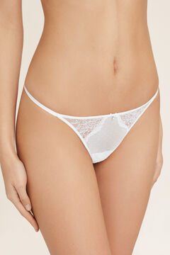 Womensecret Flocked tulle and lace thong. white