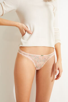 Womensecret Classic floral lace and tulle panty red