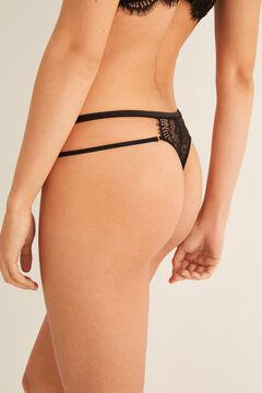 Womensecret Strappy lace tanga black