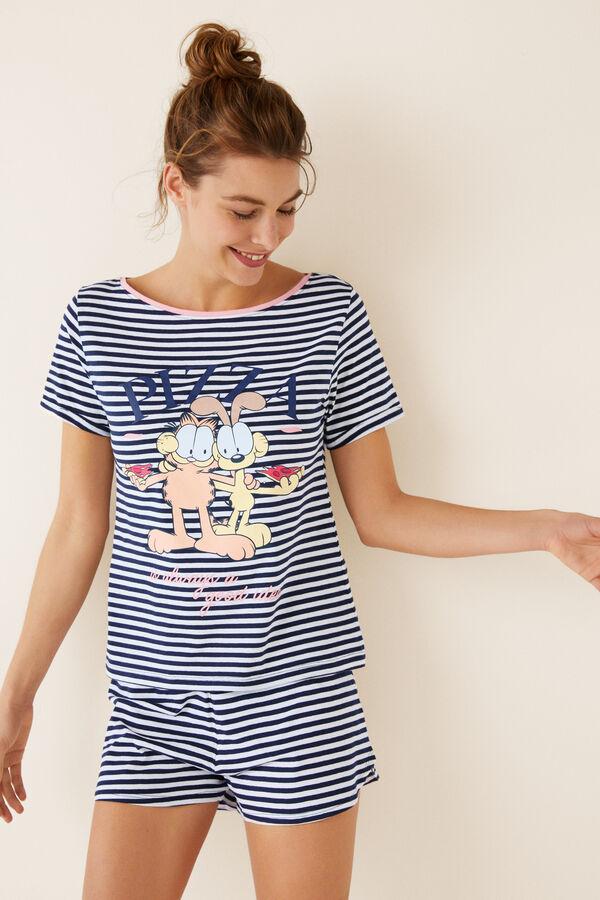 460edf685c Womensecret Pijama corto rayas Garfield azul