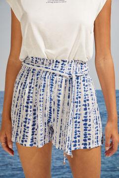 Womensecret Calças curtas estampagem tie-dye azuis branco